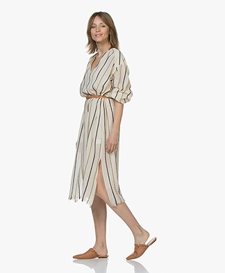 Pomandère Cotton Crepe Striped Dress - Milky White