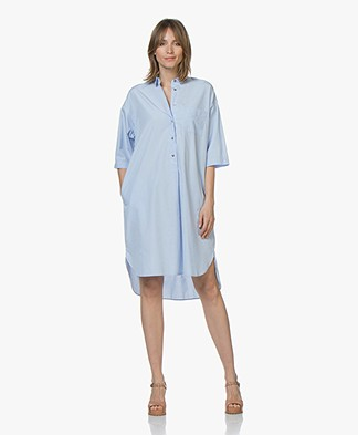 Pomandère Cotton Poplin Shirt Dress - Light Blue
