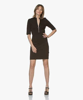 HUGO Niela Jersey Dress with Zipper - Black