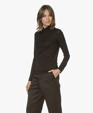 Filippa K Tencel Polo Neck Top - Zwart