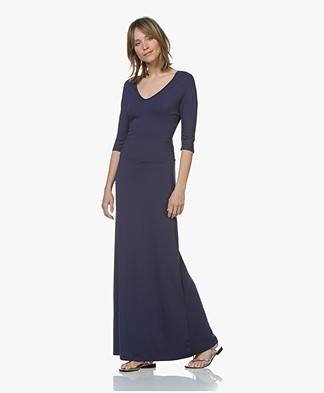 LaSalle Viscose Jersey Maxi Dress - Navy