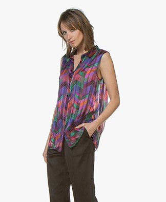 ba&sh Pepite Sleeveless Blouse Top - Green Multicolored
