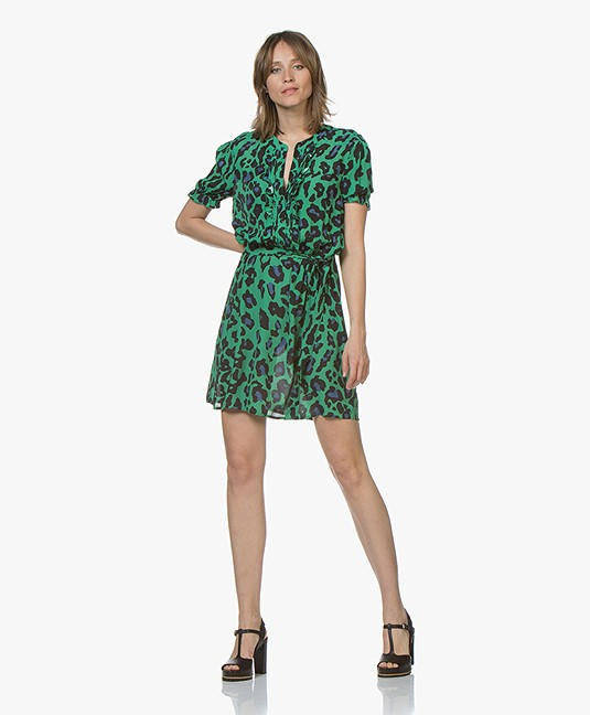 41ac465fa1f4d0 Josephine   Co Chase Luipaardprint Blousejurk - Groen - chase dress ...