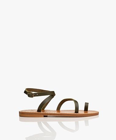 K. Jacques St. Tropez Loki Leather Sandals - Pul Kaki