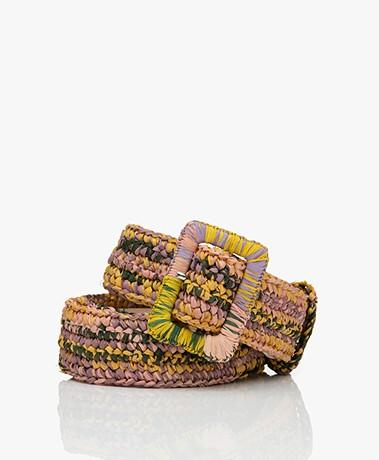 Vanessa Bruno Raffia Belt - Pink Multi-color