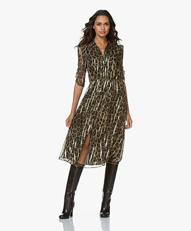 ba&sh Jozy Leopard Dress with Lurex - Khaki/Black