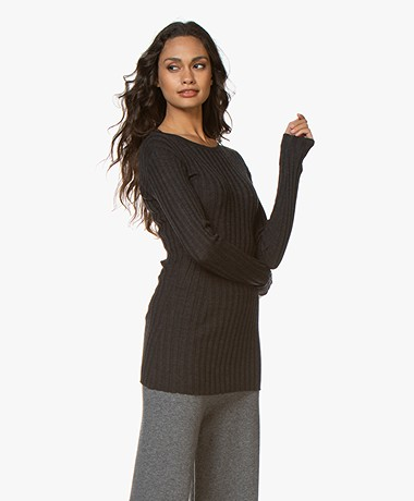 Filippa K Daria Ribbed Merino Wool Sweater - Dark Grey