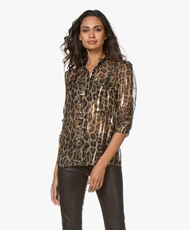 ba&sh Jaura Silk Leopard Print Blouse with Lurex - Khaki/Black