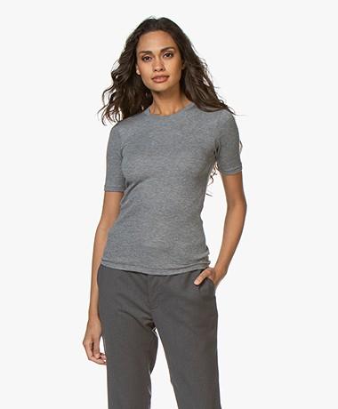 Rag & Bone Kari Rib Slim-fit T-shirt - Grey Heather