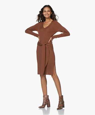 Repeat Rib Knitted Merino Dress - Brick