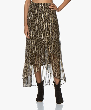 ba&sh Jalvy Silk Leopard Print Skirt with Lurex - Leopard