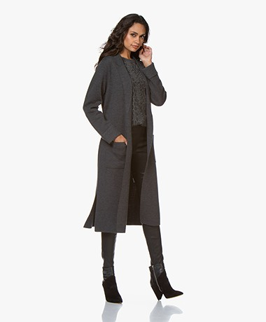 Repeat Long Merino Wool Cardigan - Dark Grey