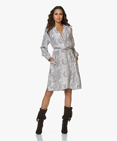 Repeat Silk Shirt Dress with Snake Print - Off-white/Grey