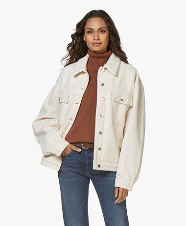 Denham Nagi Oversized Denim Fleece Jacket - Ecru