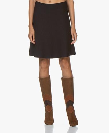 no man's land Knitted Wool Circle Skirt - Dark Sapphire