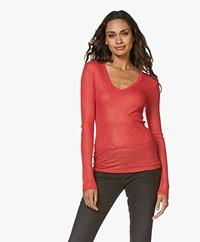 Majestic Filatures Lurex V-hals Longsleeve T-shirt - Rood/Goud