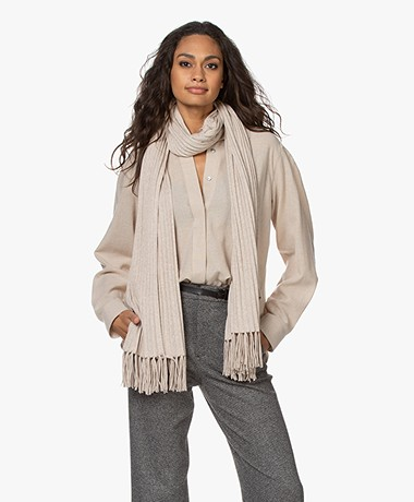 Repeat Knitted Fringe Scarf in Cotton and Viscose - Light Beige