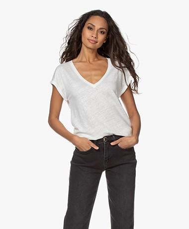 by-bar Mila Linen V-neck T-shirt - Off-white