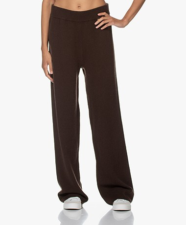 extreme cashmere N°104 Loose-Fit Cashmere Broek - Donkerbruin
