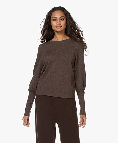 Repeat Cashmere Blend Sweater with Ballon Sleeves - Brown