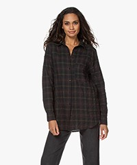 Woman by Earn Froukje Check Crinkle Shirt - Dark Green