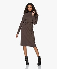 Repeat Knitted Wool Blend Funnel Neck Dress - Brown