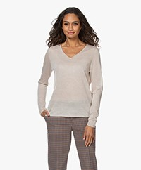 Josephine & Co Jet Lurex V-neck Sweater - Beige