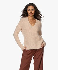 Pomandère Mohair Blend V-neck Sweater - Powder Pink