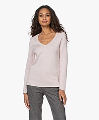 Repeat V-neck Sweater in Cotton and Viscose - Light Pink