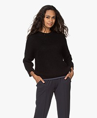 by-bar Milou Susi Fisherman's Rib Sweater - Black