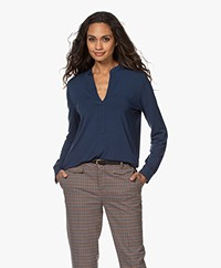 Majestic Filatures Jersey Superwashed Splithals Blouse - Bleu Nuit