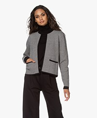 Sibin/Linnebjerg Estelle Short Herringbone Cardigan - Black/Kit