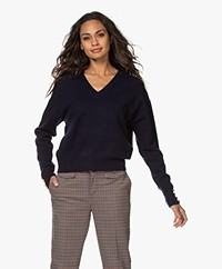MKT Studio Kassina Merino V-neck Sweater - Navy