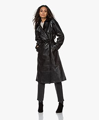 ANINE BING Finley Faux Leather Trench Coat - Black