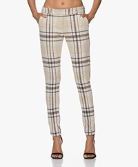 Josephine & Co Jim Checkered Jersey Pants - Sand/Off-white/Brown