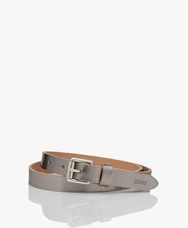Closed Narrow Metallic Leather Belt - Silver