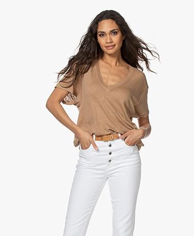IRO Heloise Pure Linen V-neck T-shirt - Chanvre