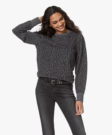 Rails Marcie Mini Cheetah Puff Sleeve Sweater - Charcoal