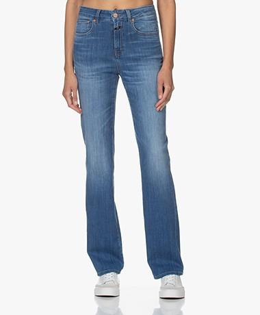 Closed Leaf Flared Stretch Jeans - Middenblauw