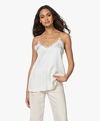 ANINE BING Belle Silk Camisole with Lace - Ivory