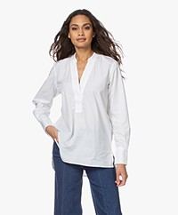 Closed Darcy Katoenen Splithals Blouse - Wit