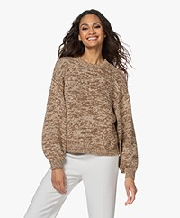 Drykorn Rojana Cotton Mouliné Sweater - Sand/Brown