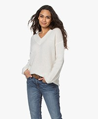 no man's land Mohair and Wool Blend  V-neck Sweater - Ivory