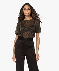 Closed Lurex Short Sleeve Pullover - Black