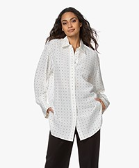 Joseph Brooks Silk Polkadot Blouse - Ivory/Black