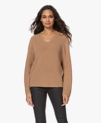 Drykorn Merina Fisherman's V-neck Sweater - Warm Sand
