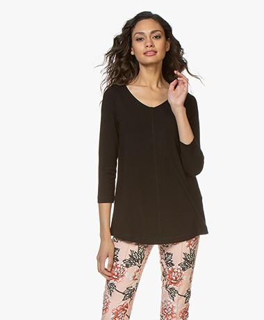 Kyra & Ko Ramona A-lijn T-shirt met Cropped Mouwen - Zwart