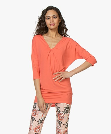 Kyra & Ko Romee T-shirt with Pleat Detail - Coral