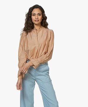 BY-BAR Lucy Silk Blend Blouse - Light Copper