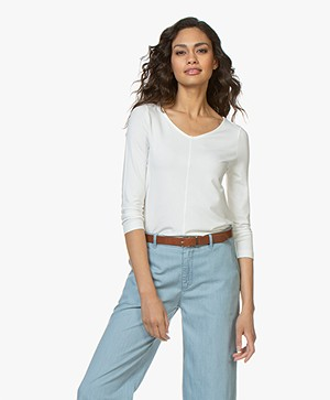 Kyra & Ko Ramona A-line T-shirt with Cropped Sleeves - Off-white